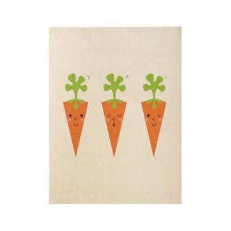 Drei niedliches Karotten Vorlagenplakat Holzposter