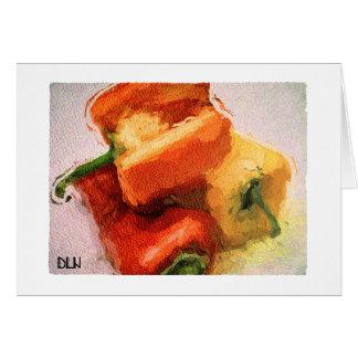 Drei Paprikaschoten-/Gemüse-/Watercolor-Blick Karte