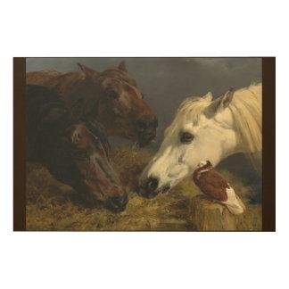 Drei Pferde, die durch Heringe Johns Frederick Holzwanddeko