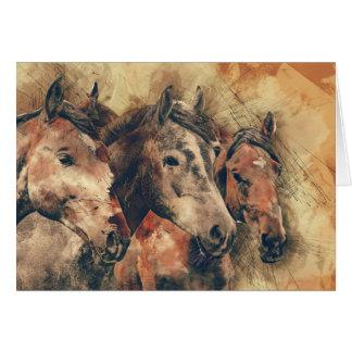 Drei Pferde erhalten wohle bald Gruß-Karte Karte