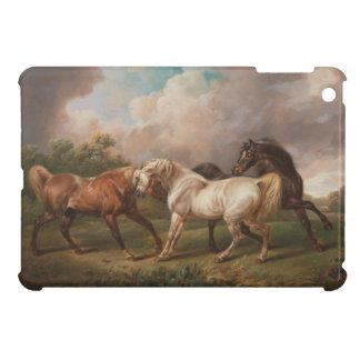 Drei Pferde in einer stürmischen Landschaft iPad Mini Hülle
