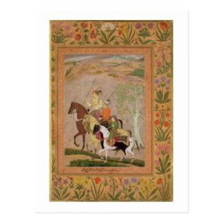 Drei Prinzen Going Hunting, c.1635 (Gouache auf PA Postkarte