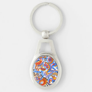 Drei Ring-Zirkus - abstrakte Kunst handgemalt Schlüsselanhänger