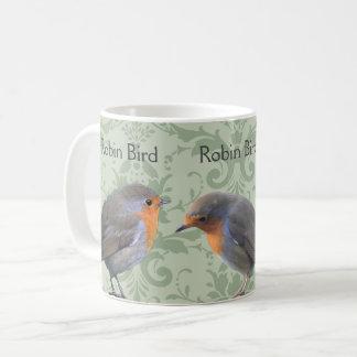 Drei Robin Vogel auf hellgrünem Damastmuster Kaffeetasse