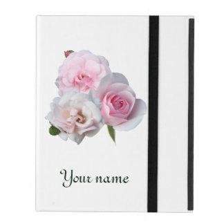 Drei rosa Rosen. Addieren Sie Ihren Text iPad Hülle