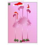 Drei rosa Weihnachtsflamingos Grußkarten
