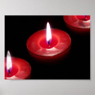 Drei rote Kerzen Poster