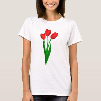 Drei roter Cartoon-Tulpe-T - Shirt