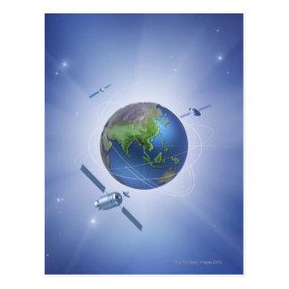 Drei Satelliten Postkarte