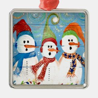 Drei Schneemänner Quadratisches Silberfarbenes Ornament
