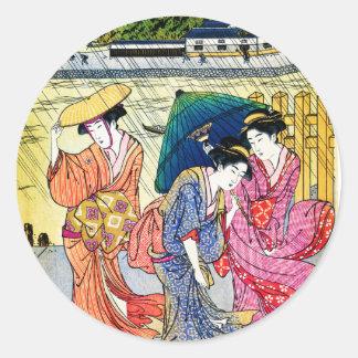 Drei Schönheiten im Regen Runder Aufkleber