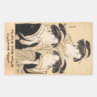 Drei Schönheiten katsukawa shunsho ukiyo-e Vintag Rechrteckaufkleber