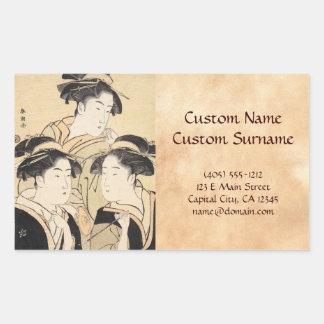 Drei Schönheiten katsukawa shunsho ukiyo-e Vintag Rechtecksticker