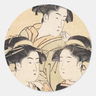 Drei Schönheiten katsukawa shunsho ukiyo-e Vintag Runder Aufkleber