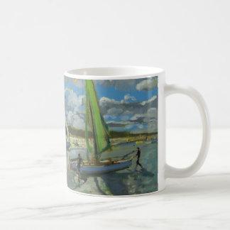 Drei Segelboot-Schrei-Dünen Frankreich Kaffeetasse