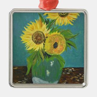Drei Sonnenblumen in einem Vase, Van Gogh Quadratisches Silberfarbenes Ornament