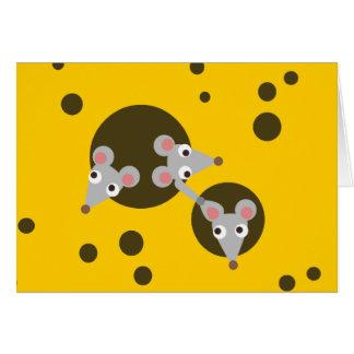 Drei spielerische Mäuse in der Käse-Gruß-Karte Grußkarte