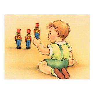 Drei Spielzeug-Soldaten Postkarte