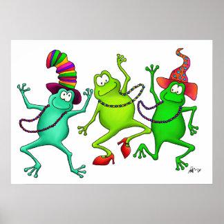 Drei tanzendes Frosch-Kunst-Druck-Plakat Poster
