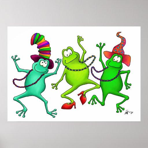 Drei tanzendes Frosch-Kunst-Druck-Plakat