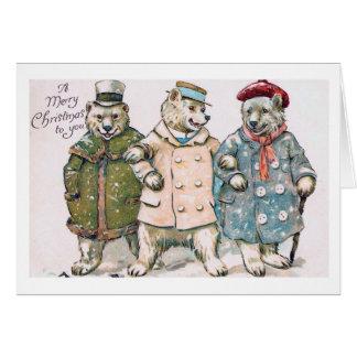"""""""Drei Weihnachtsbären"""" Vintag Karte"""