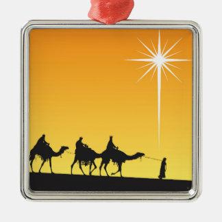 Drei weise Männer, die dem Stern folgen Silbernes Ornament