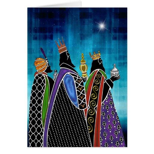 Drei Weisen, die Geschenke unter sternenklarem Him Grußkarte