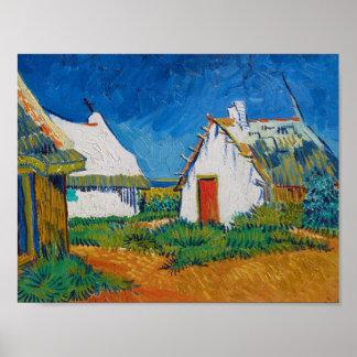 Drei weiße Hütten in Saintes-Maries durch Vincent Poster