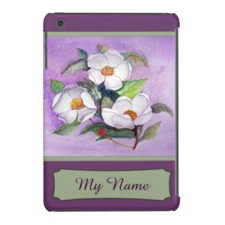Drei weiße Magnolien auf einem iPad Mini Cover