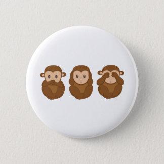 Drei wenig monkeye runder button 5,1 cm