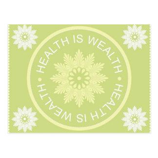 Drei Wort-Zitate ~Health ist Wealth~ Postkarte