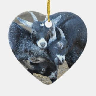 Drei Ziegen, die das Kopf-Herz geformt stoßen Keramik Ornament