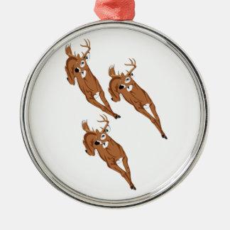 Drei zum zu laufen rundes silberfarbenes ornament