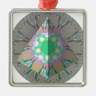 Dreieck-Summenvogel Kaleidoskop 3d Quadratisches Silberfarbenes Ornament