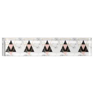 Dreiecke, Gold, Schwarzes, Rosa, Marmore, Collage, Schreibtischplakette