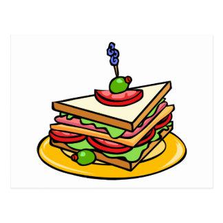 Dreieckiges Cartoon-Sandwich mit alles Postkarte