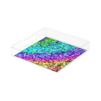 Dreieckmosaikregenbogen Acryl Tablett