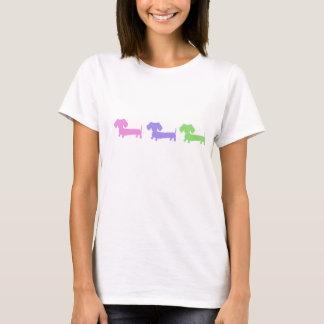 Dreifache Dackel-Grafik T-Shirt