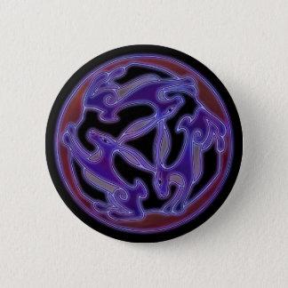 Dreifache Hasen, das Symbol mit drei Hasen in Lila Runder Button 5,7 Cm
