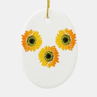 Dreifache Sonnenblumen Keramik Ornament