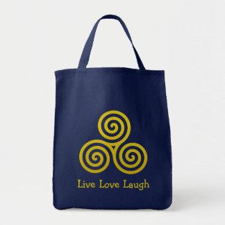 Dreifache Spirale LiveLiebe-Lachen-Gold Tragetasche