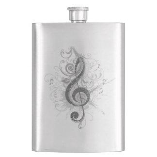 Dreifacher Clef (B/W) klassische Flasche Flachmann