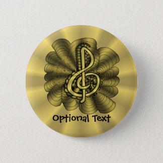Dreifacher Clef-Goldmetallisches kundengerechtes Runder Button 5,1 Cm