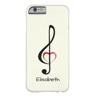 Dreifacher Clef mit glänzendem rosa Herzen Barely There iPhone 6 Hülle