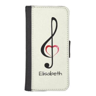 Dreifacher Clef mit glänzendem rosa Herzen iPhone SE/5/5s Geldbeutel