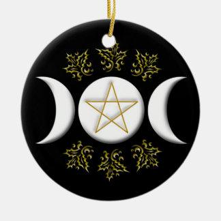 Dreifacher Mond u. Pentagram #1 neu Rundes Keramik Ornament