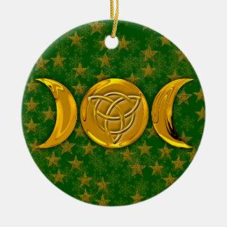 Dreifacher Mond u. Tri-Quatra #3 Rundes Keramik Ornament