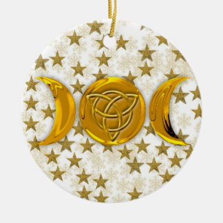 Dreifacher Mond u. Tri-Quatra #4 Rundes Keramik Ornament