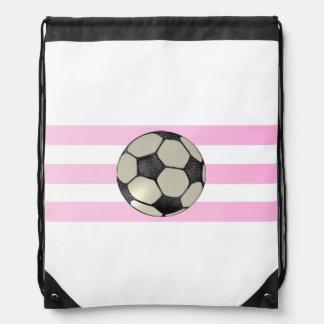 Dreifacher rosa Streifen-Fußball-Rucksack Sportbeutel