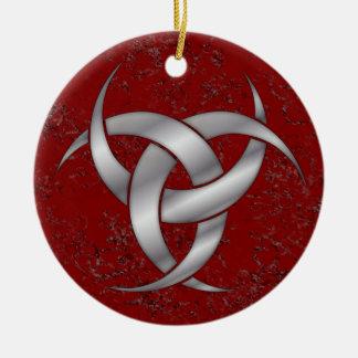 Dreifacher sichelförmiger Mond - Silber - 2 Rundes Keramik Ornament